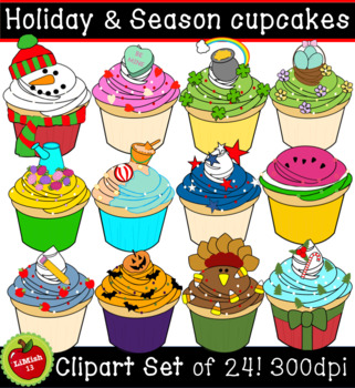 Holiday and season cupcakes clipart (For commercial and personal use)