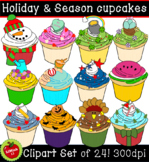 Holiday and season cupcakes clipart (For commercial and pe