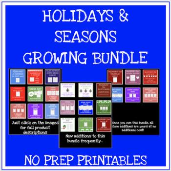Holiday and seasonal no prep games, worksheets and more GROWING BUNDLE