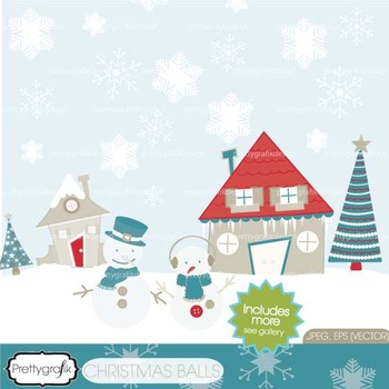 Holiday christmas scene clipart commercial use, vector graphics - CL437