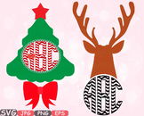 Holiday clipart Christmas Cards decoration tree gift santa Rudolph frame -575S