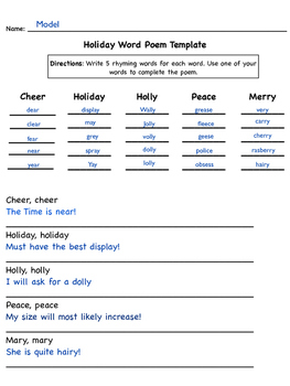 Holiday easy poem template.