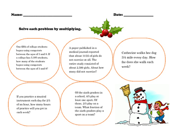 Holiday fraction word problems