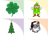 Holiday matching flashcards picture association