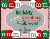 Holiday m&m graphing and math work