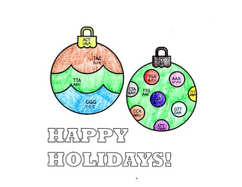 Holiday or Christmas Coloring Activity: Codons