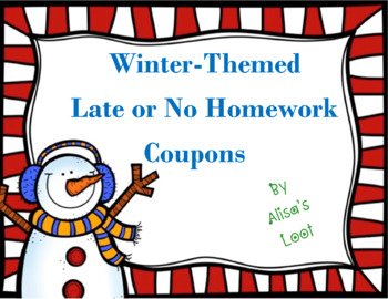 Holiday or Winter-Themed Late or No Homework Coupons