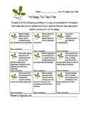 Holiday reading log tic-tac-toe board