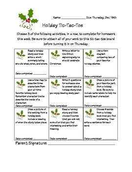 Holiday reading log tic-tac-toe board