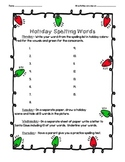 Holiday spelling words