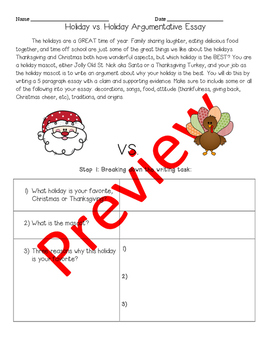 Holiday vs. Holiday Writing Assignment
