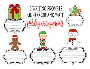 Holiday writing prompts kids coloring art activity Christmas templates