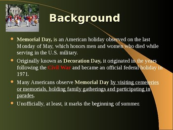 Holidays & Anniversaries - Memorial Day