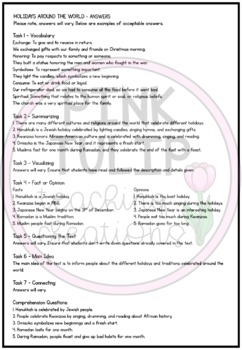 Holidays Around The World Christmas Comprehension - Reading Strategy Worksheet