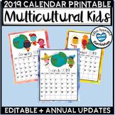 Kids Around The World Printable Editable Calendar 2019