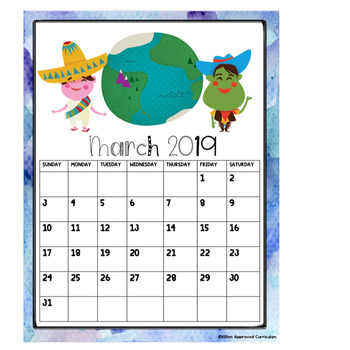 World Calendar.Kids Around The World Editable Calendar 2019