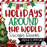 Holidays Around the World Christmas Escape Room Printable and Digital Activity