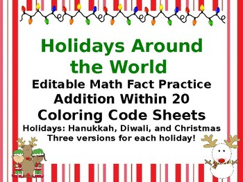 Holidays Around the World Color Code for addition Within 20
