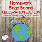 Holidays Around the World, December Homework Bingo Board: