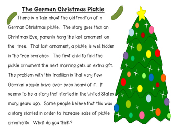 Holidays Around the World - German Christmas Pickle - Close Reading