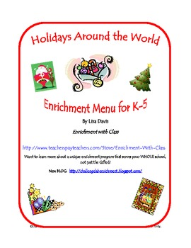 Holidays Around the World Gifted or Enrichment Menu for K-5