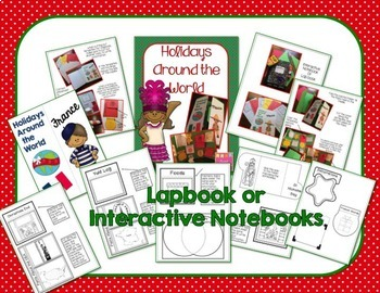 HOLIDAYS AROUND THE WORLD LAPBOOK OR NOTEBOOK - Country Research With Templates