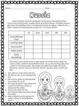 Christmas Around the World 8 Logic Puzzles! Grades 2, 3 & 4