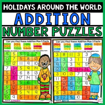 Holiday Math Addition Number Puzzles