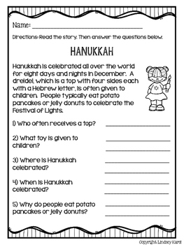 Holidays Around the World Mini Stories and WH Comprehension Questions