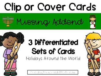 Holidays Around the World Missing Addend Clip or Cover Cards
