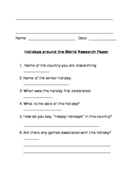 Holidays Around the World Packet