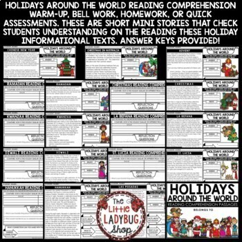 Winter Holidays Around the World Reading Comprehension Passages 3rd & 4th  Grade