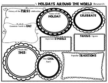 Holidays Around the World Research Activity: Holidays Graphic Organizer