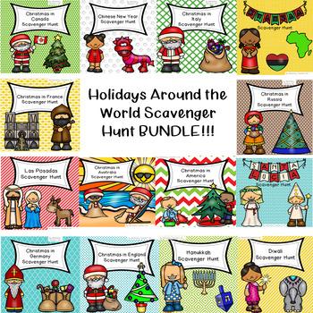 Holidays Around the World Scavenger Hunt Bundle