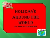 Holidays Around the World- Suitcase, passport, map
