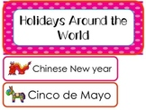 Holidays Around the World Word Wall Weekly Theme Posters.