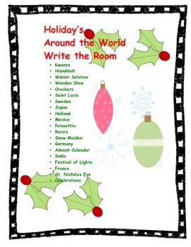 Holiday's Around the World Write the Room