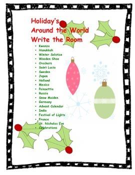Holiday's Around the World Write the Room