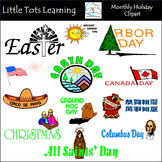 Monthly Holiday Clipart BUNDLE - Personal and Commercial Use