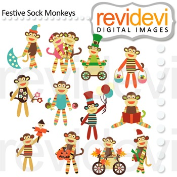 Holidays Clip art - Sock Monkeys Clipart