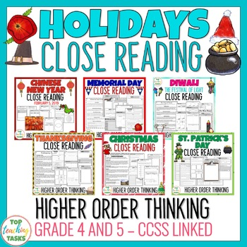 Holidays Close Reading Comprehension Passages and Questions BUNDLE