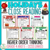 Holidays Close Reading Comprehension Passages and Question