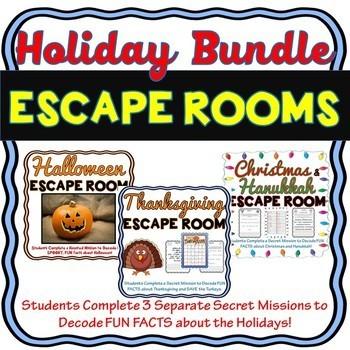 Holidays ESCAPE ROOM BUNDLE! Halloween-Christmas/Chanukah & Thanksgiving