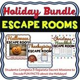 Holidays ESCAPE ROOM BUNDLE! Halloween-Christmas/Chanukah-Thanksgiving