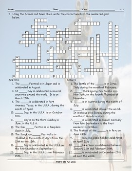 Holidays-Festivals Around the World Crossword Puzzle