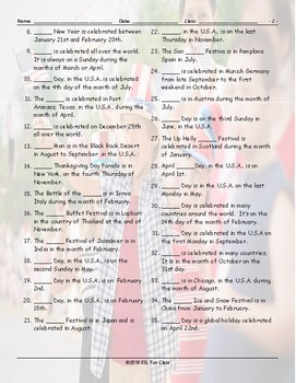 Holidays-Festivals Around the World Jumbled Words Worksheet