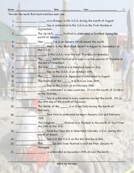 Holidays-Festivals Around the World Matching Worksheet