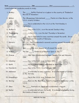Holidays-Festivals Around the World Study Worksheet