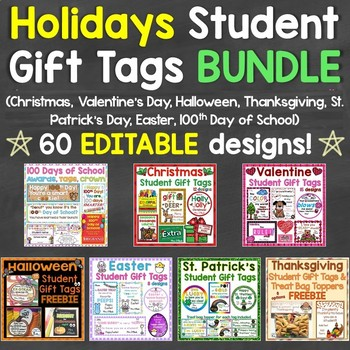 Holidays Gift Tags Bundle Christmas, Valentine's Day, 100t