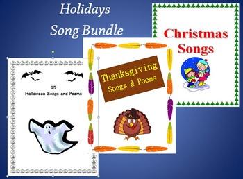 Holidays  (Halloween,Thanksgiving and Christmas ) Song Bundle